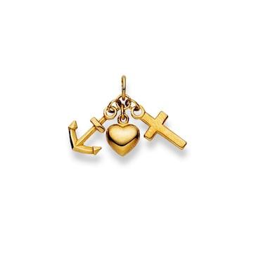 Anhänger 750/18 K Gelbgold, Glaube Liebe Hoffnung