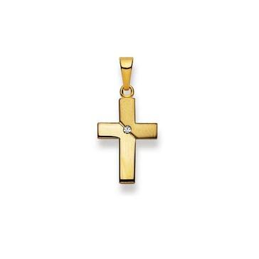 Anhänger 750/18 K Gelbgold mit Brillant, Kreuz