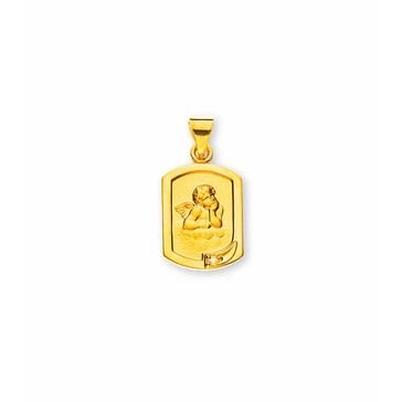 Anhänger 750/18 K Gelbgold mit Diamant, Schutzengel AME1030