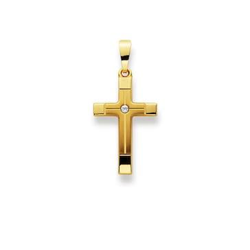 Anhänger 750/18 K Gelbgold mit Zirkonia, Kreuz 1158.03332/0001
