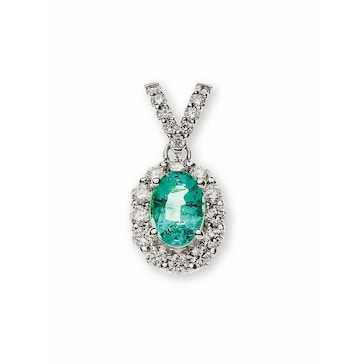 Anhänger 750/18 K Weissgold mit Smaragd und Diamanten