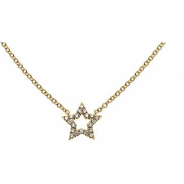 Collier 750/18 K Gelbgold mit Diamanten, Stern CBR101045