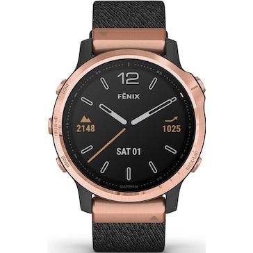 Garmin Fenix 6S Pro Sapphire Schwarz/Roségold, Nylon-Armband + Silikonarmband Schwarz