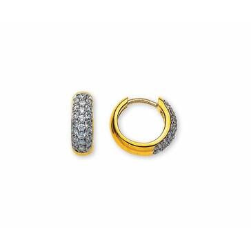 Kreolen 750/18 K Gelbgold mit Diamanten Ø 12mm