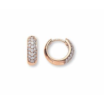 Kreolen 750/18 K Rotgold mit Diamanten Ø 12mm