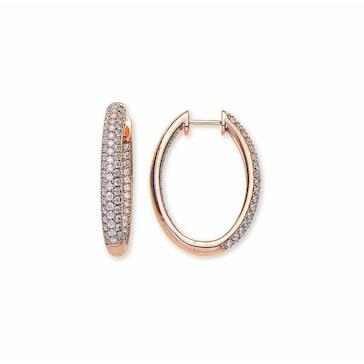 Kreolen 750/18 K Rotgold mit Diamanten