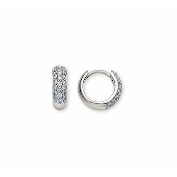 Kreolen 750/18 K Weissgold mit Diamanten Ø 11mm OBR2013