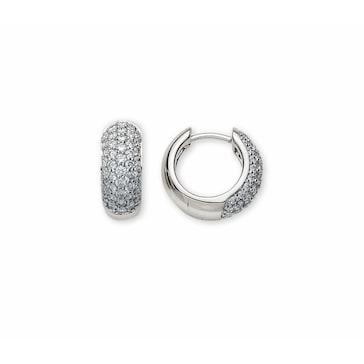 Kreolen 750/18 K Weissgold mit Diamanten Ø 13.5mm