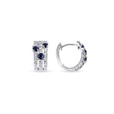 Kreolen 750/18 K Weissgold mit Diamanten 0.49 ct H/si & Safiren 0.45 ct
