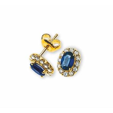 Ohrstecker 750/18 K Gelbgold mit Saphir und Diamanten OFA1002