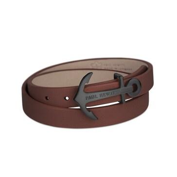 Paul Hewitt North Bound IP Black Wrap Bracelet Leather Brown