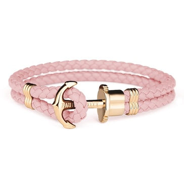 Paul Hewitt Phrep IP Gold Anchor Bracelet Leather Aurora