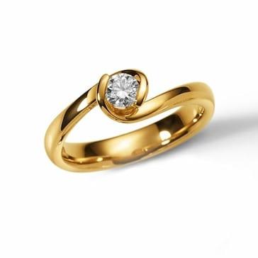 Solitärring 750/18 K Gelbgold mit Diamant 0.25ct W/Si 1110.07674
