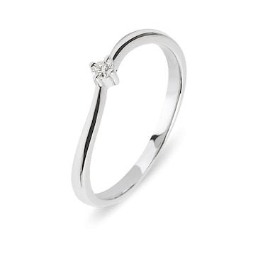 Verlobungsring 750/18 K Weissgold mit Diamant 0.04 ct H/si