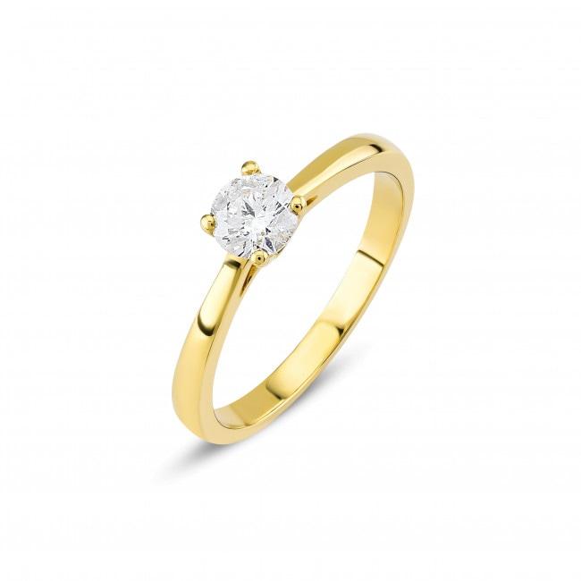 Verlobungsring 750 18 K Gelbgold Mit Diamant 0 41 Ct H Si Online