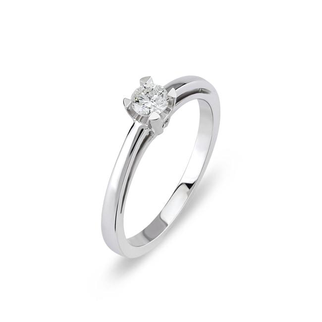 Verlobungsring 750 18 K Weissgold Mit Diamant 0 19 Ct H Si Online