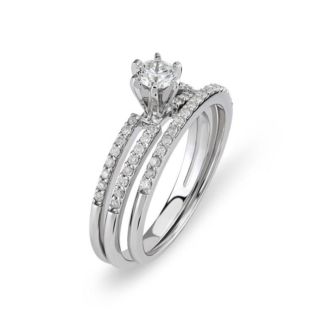 Verlobungsring Mit Beisteckring 750 18 K Weissgold Mit Diamanten