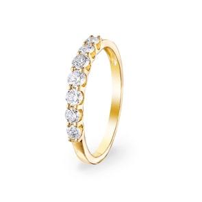 0.50 Karat Diamanten Mémoire Ring 750/18 K Gelbgold
