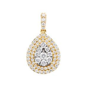 1.01 Karat Diamantanhänger 750/18 K Gelbgold