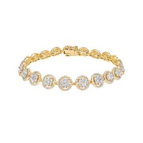 5.00 carats diamants bracelet rivière halo 750/18 K or jaune
