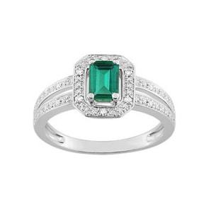 Damenring 750/18 K Weissgold mit Smaragd Baguette 0.63ct. und Diamanten 0.04ct.