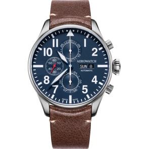 Aerowatch Les Grandes Classiques Aviator Automatic Chrono Day-Date Silbrig