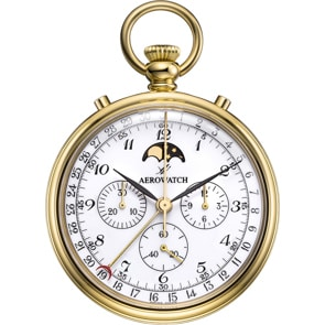 Aerowatch Taschenuhr Lépine Mechanical Chrono Moon Phase Arabic