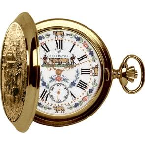 Aerowatch Taschenuhr Savonette Mechanical Belle Epoque Goldig