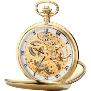 Aerowatch Taschenuhr Savonette Skeleton Goldig