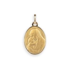 Anhänger 750/18 K Gelbgold 15x19mm, Madonna mit Kind