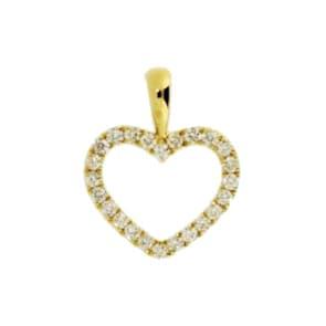 Anhänger 750/18 K Gelbgold mit Diamanten, Herz