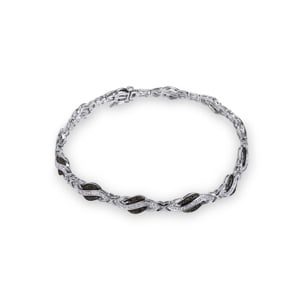 Armband 750/18 K Weissgold mit schwarzen und weissen Diamanten 0.42 ct