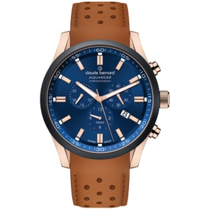 Claude Bernard Aquarider Chronograph Rosé / Leder braun