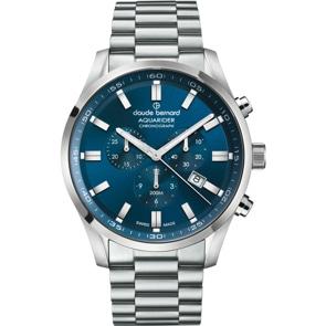Claude Bernard Aquarider Chronograph Silbrig / Blau