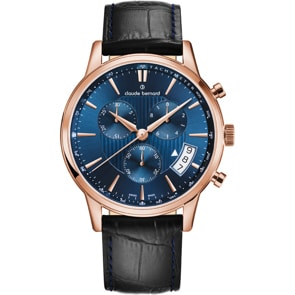 Claude Bernard Classic Chronograph Rosé / Blau