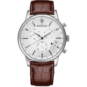 Claude Bernard Classic Chronograph Silbrig / Braun