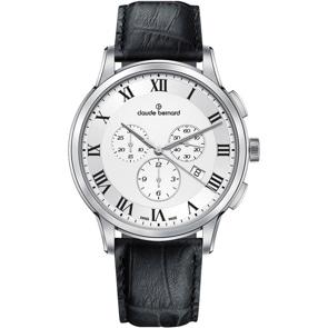 Claude Bernard Classic Chronograph Silbrig / Schwarz