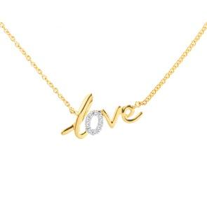 Collier 750/18 K Gelbgold mit Diamanten 0.03 ct H/si, Love