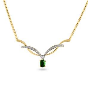 Collier 750/18 K Gelbgold mit Diamanten 0.12 ct H/si & Smaragd