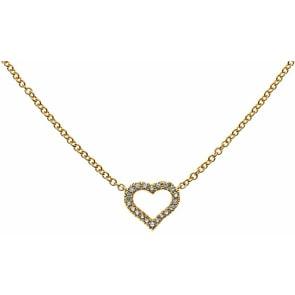 Collier 750/18 K Gelbgold mit Diamanten, Herz