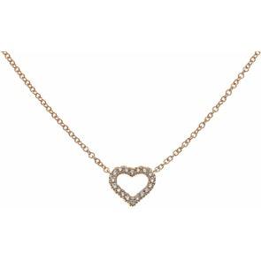 Collier 750/18 K Rotgold mit Diamanten, Herz