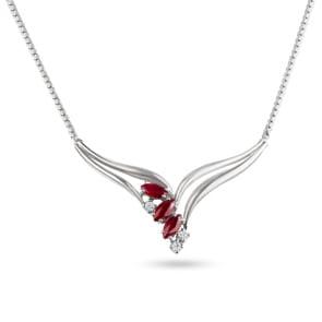 Collier 750/18 K Weissgold mit Diamanten 0.10 ct H/si & Rubine