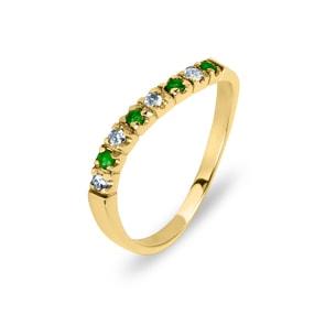 Damenring 750/18 K Gelbgold, Diamanten 0.10 ct H/si & Smaragd Ø 52