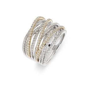 Damenring 750/18 K Gelb-/ Weissgold mit Diamanten 1.47 ct H/Si