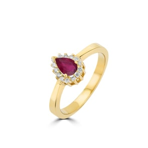Damenring 750/18 K Gelbgold, Diamanten 0.11 ct H/si & Rubin 0.56 ct