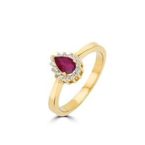 Damenring 750/18 K Gelbgold, Diamanten 0.11 ct H/si & Rubin 0.56 ct