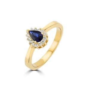 Damenring 750/18 K Gelbgold, Diamanten 0.11 ct H/si & Saphir 0.46 ct