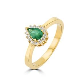 Damenring 750/18 K Gelbgold, Diamanten 0.11 ct H/si & Smaragd 0.34 ct