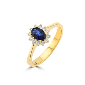 Damenring 750/18 K Gelbgold, Diamanten 0.17 ct H/si & Saphir 0.52 ct