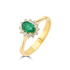 Damenring 750/18 K Gelbgold, Diamanten 0.17 ct H/si & Smaragd 0.38 ct